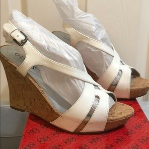 New Guess Tarissa White Wedges